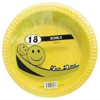 108 Pack - 6 x 18 Pack Yellow Plastic Disposable Bowls 180mm