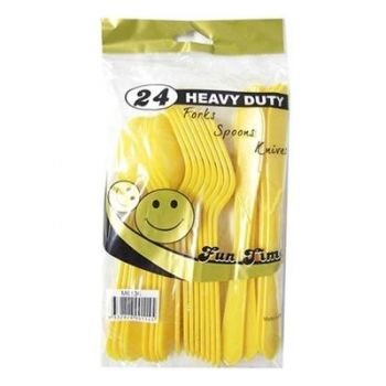 144 Pack - 6 x 24 Pack Yellow Heavy Duty Cutlery Set - Super Value!