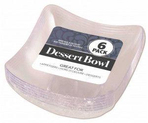 144 Pack (24 x 6 Pack) DESSERT BOWL CURVE SQUARE MINI - Wholesale Bulk Lot Deals