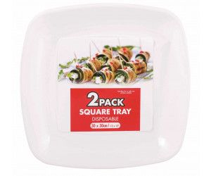 72 Pack (36 x 2 Pack) PARTYWARE TRAY SQUARE WHITE - Wholesale Bulk Lot Deal