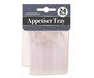 576 Pack (24 x 24 Pack) APPETISER TRAY MINI SQUARE CLEAR - Wholesale Bulk Lot Deals