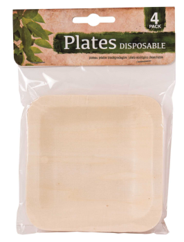 96 Pack (24 x 4 Pack) DISPOSABLE ENVIRONMENT FRIENDLY (  ECO FRIENDLY ) SQUARE PLATE - Wholesale Bulk Lot Deal