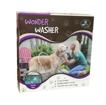 Wonder Washer 360 degree dog bath with 44 jet spray and soap shampoo dispenser