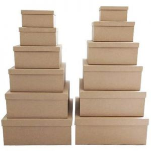 2 x Kraft Rectangle Gift Box Set - Set of 12 Rectangle boxes
