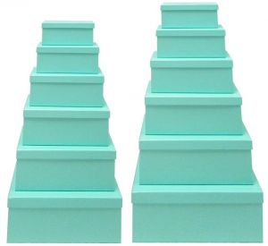 2 X Tiffany Blue Gift Box - Set of 12 Rectangle boxes