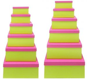 Green Gift Box with Pink Lid - Set of 12 Rectangle boxes