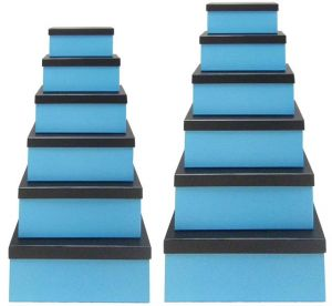 Blue Gift Box with Black Lid - Set of 12 Rectangle boxes