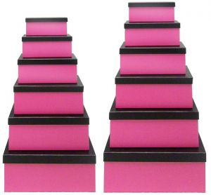 Hot Pink Gift Box with Black Lid - Set of 12 Rectangle boxes